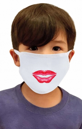 A164 koi Children's Reusable Cloth Fashion Mask (1-pc) - Kiss Mark - Imcludes PM2.5 Replaceable Filter