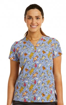 1767 Maevn V-Neck Print Top - Playful Puddles