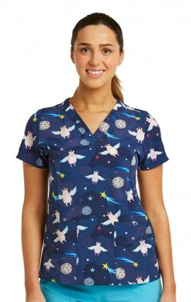 1767 Maevn V-Neck Print Top - Uni-Pigs in space