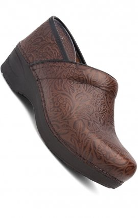 XP 2.0 Brown Floral Tooled by Dansko - Slip-resistant Rubber Outsole