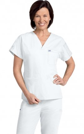 *FINAL SALE 306T WHITE MOBB Unisex V-Neck Scrub Top