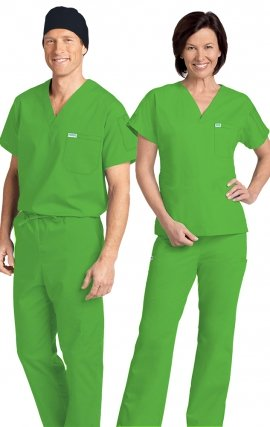 *FINAL SALE 306/306 Lime Green MOBB Classic Scrub Set - Two Piece (Top & Pant)