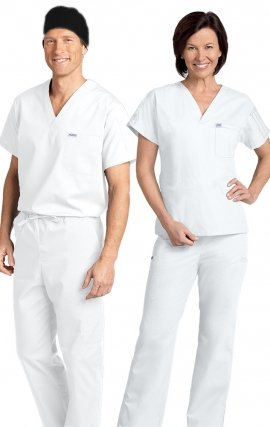 *FINAL SALE 306/306 WHITE MOBB Classic Scrub Set - Two Piece (Top & Pant)