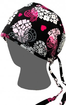 GTCP Zinnia Stretch Unisex Scrub Caps - Print: Butterflies Over Hearts