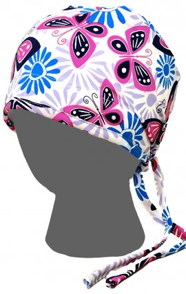 GTCP Zinnia Stretch Unisex Scrub Caps - Print: Butterfly Floral Stamp