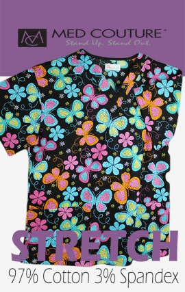 C7 Med Couture Mosaic Butterfly Print Scrub Top