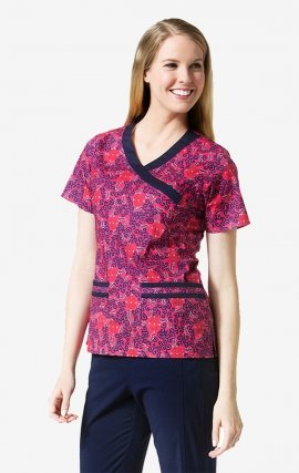 1107 Chantilly Print -  Mockwrap 2-Pocket Print Top