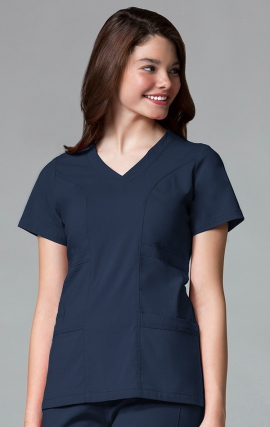 1214 EcoFlex - Curved V-Neck Top Ridiculously Soft and Wrinkle Resistant