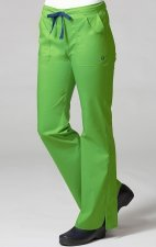 9102 Maevn Blossom - Multi Pocket Fashion Flare Pant - Apple Green/Navy