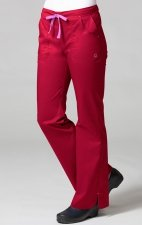 9102 Maevn Blossom - Multi Pocket Fashion Flare Pant - Crimson/Light Pink
