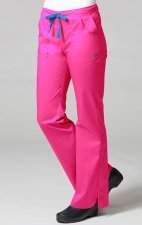 9102 Maevn Blossom - Multi Pocket Fashion Flare Pant - Passion Pink/Pacific Blue