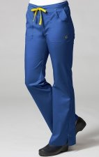 9102 Maevn Blossom - Multi Pocket Fashion Flare Pant - Royal Blue/Yellow
