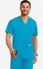 MOBB Classic Unisex 3 Pocket Scrub Top (Men's View) - Aqua (AQ