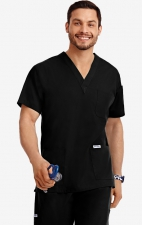MOBB Classic Unisex 3 Pocket Scrub Top (Men's View) - Black (BL)