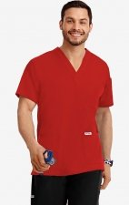 MOBB Classic Unisex 3 Pocket Scrub Top (Men's View) - Red (RE)