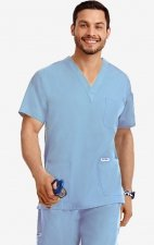 MOBB Classic Unisex 3 Pocket Scrub Top (Men's View) - Sky Blue (SB)