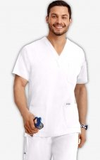 MOBB Classic Unisex 3 Pocket Scrub Top (Men's View) - White (WH)