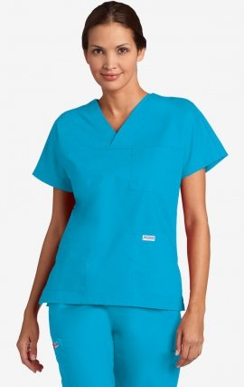 V-Neck Three Pocket Dolman Sleeve MOBB Scrub Top - Aqua (AQ)