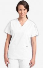 MOBB Classic Unisex 3 Pocket Scrub Top (Women's View) - (White)