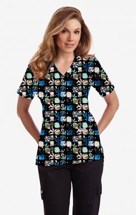 420T PARADISE PUNCH Empire Tie Back Scrub Top by MOBB
