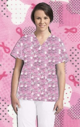 320T HEART TIES MOBB V-Neck Print Scrub Top