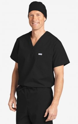 MOBB Unisex V-Neck Scrub Top (Men's View) - Black (BL)