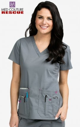 8425 Med Couture Rescue Utility Scrub Top - Black/Raspberry