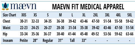 Maeven Medical Uniforms Canada - Size Chart