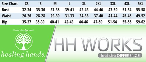 Healing Hands HH WORKS - Size Chart