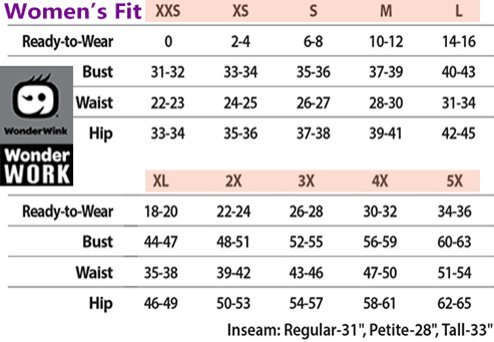 Wonderwink WonderWork MEDICAL APPAREL - Size Chart