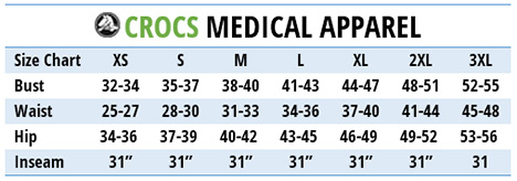ab947cade Share on Facebook  Download PDF. CROCS MEDICAL APPAREL - Size Chart
