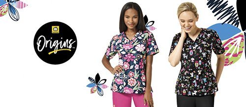 WonderWink Origins V-neck Print Scrub Tops